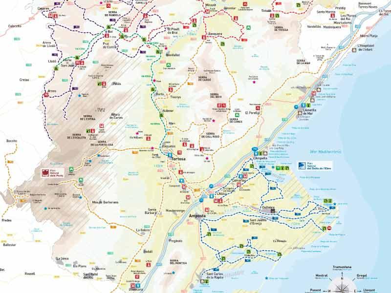 Mapa Terres De L Ebre.Descarregues Cicloturisme Tortosaturisme